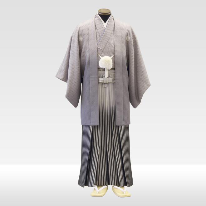 グレー地紋服 + グレー地ぼかし仙台平