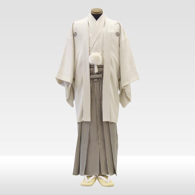 白紋服 + 仙台平(黒×白)