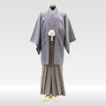 ブルーグレー地色紋服 + 仙台平(草色x紺)